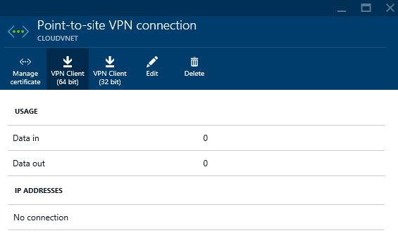 Azure - Create - Networking - Virtual Networking - Virtual Network - VPN Connections Provisioned - VPN connections - Point-to-Site - VPN Client 64-bit