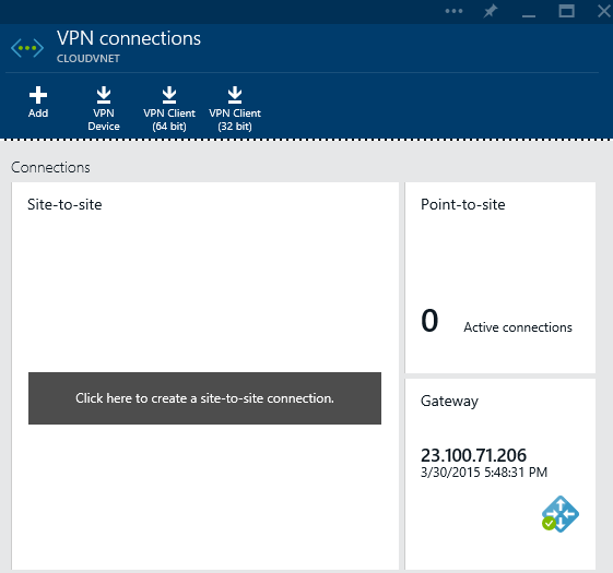 Azure - Create - Networking - Virtual Networking - Virtual Network - VPN Connections Provisioned - VPN connections - Point-to-Site