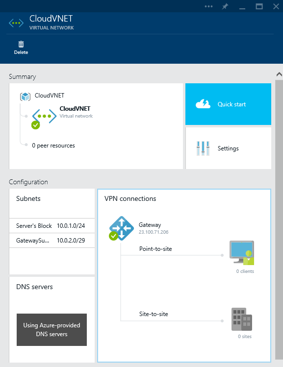 Azure - Create - Networking - Virtual Networking - Virtual Network - VPN Connections Provisioned