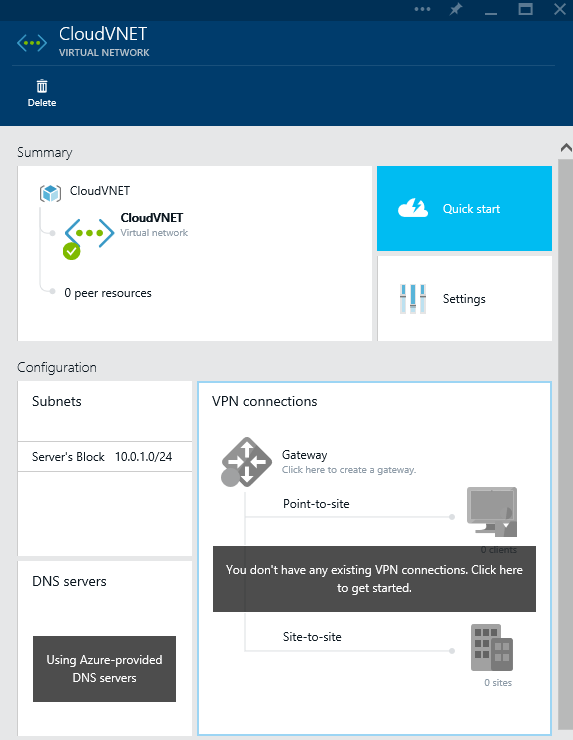 Azure - Create - Networking - Virtual Networking - Virtual Network - VPN Connections