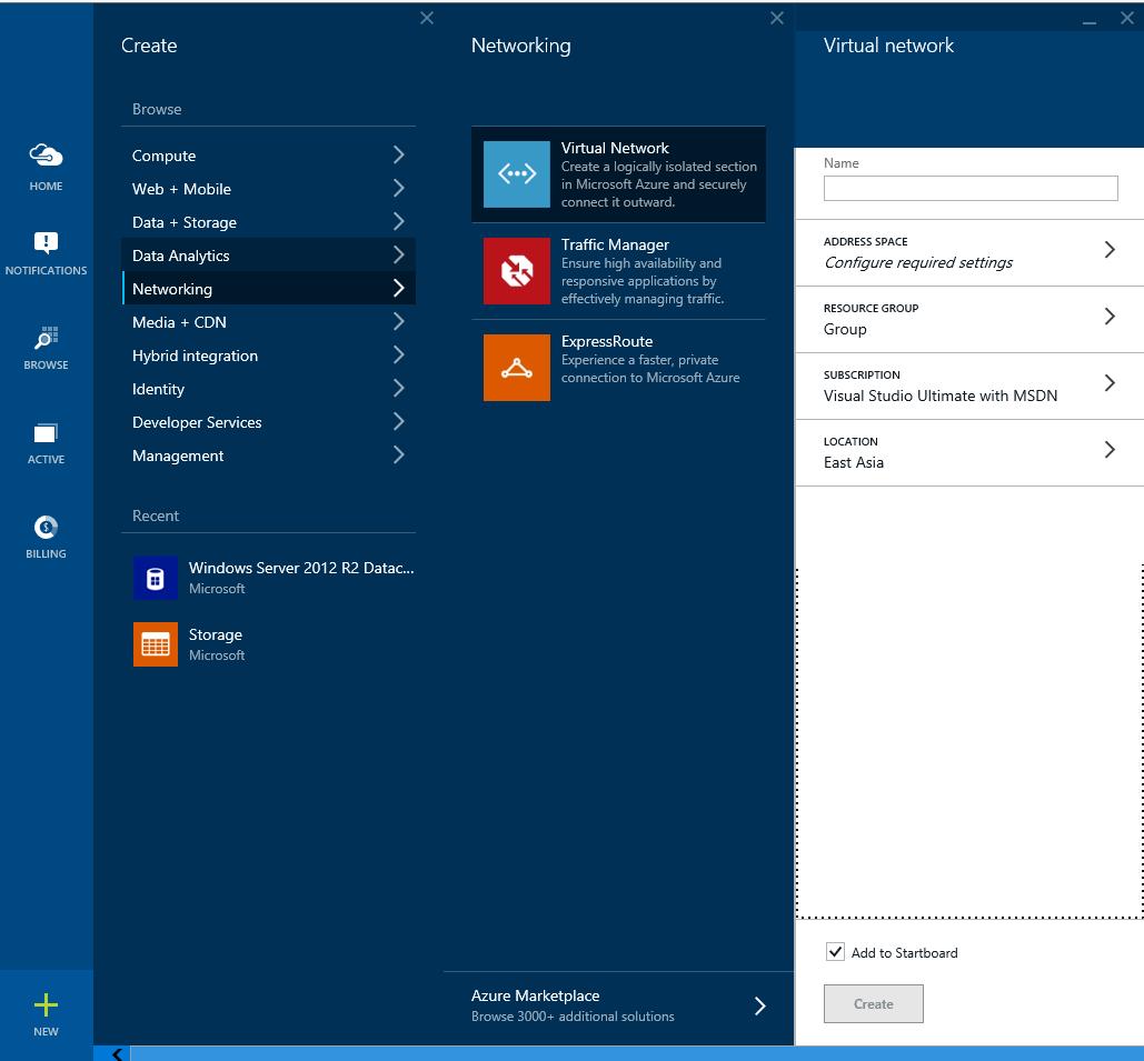 Azure - Create - Networking - Virtual Networking