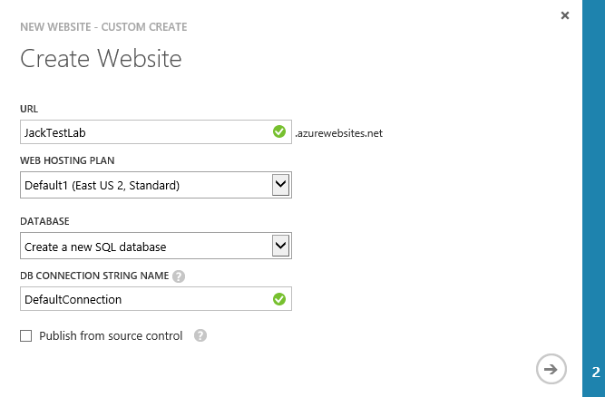 Create Website - Create a new SQL database