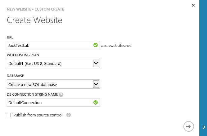 Create Website - Create a new SQL database