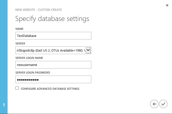 New Website - Custom Create - Specify database settings - existing server