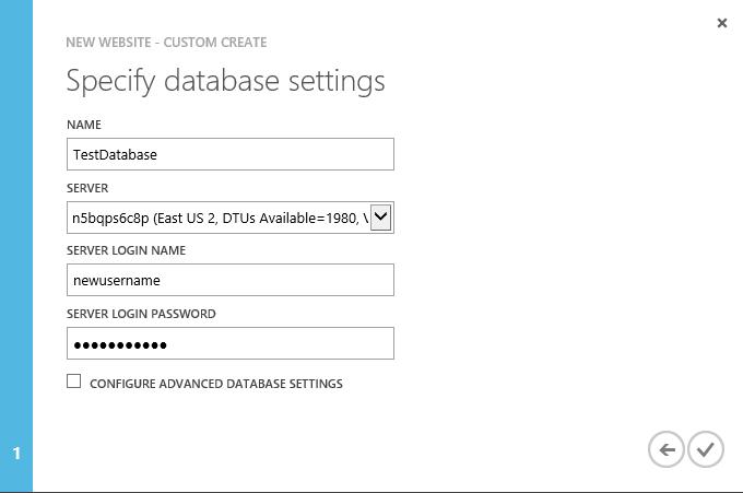 New Website - Custom Create - Specify database settings - existing server