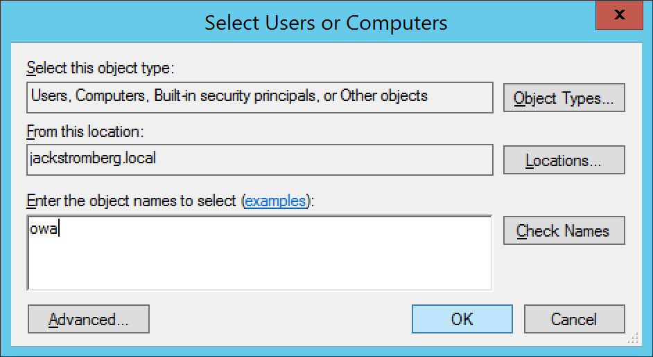 Active Directory Users and Computers - Computers - OWA - Properties - Delegation - Add - users or Computers - Select Users or Computers