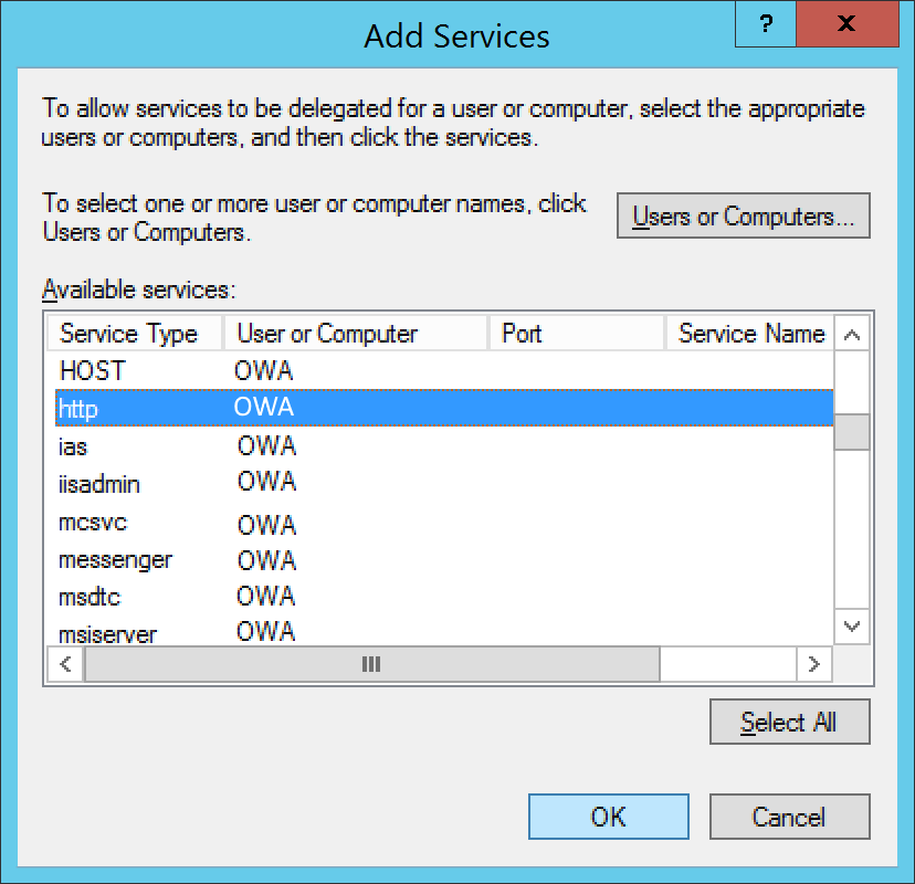 Active Directory Users and Computers - Computers - OWA - Properties - Delegation - Add - users or Computers - http