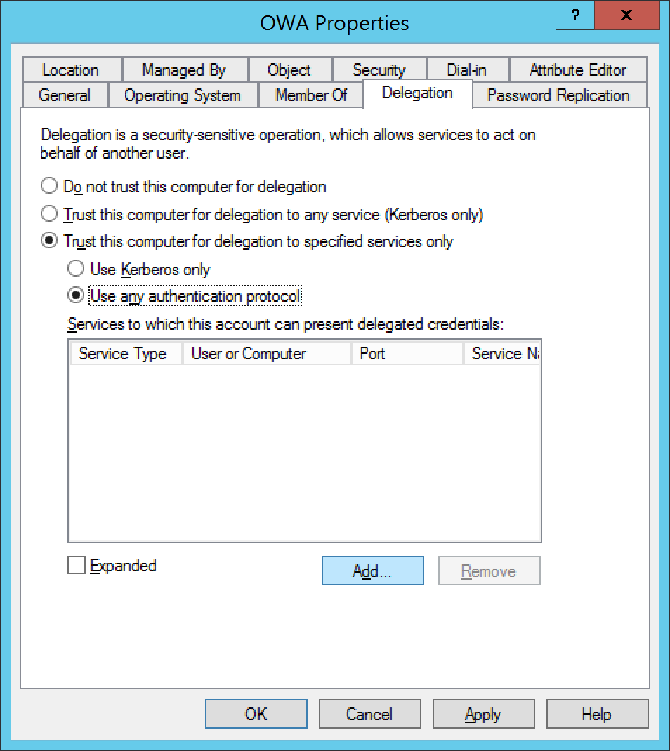 Active Directory Users and Computers - Computers - OWA - Properties - Delegation - Add