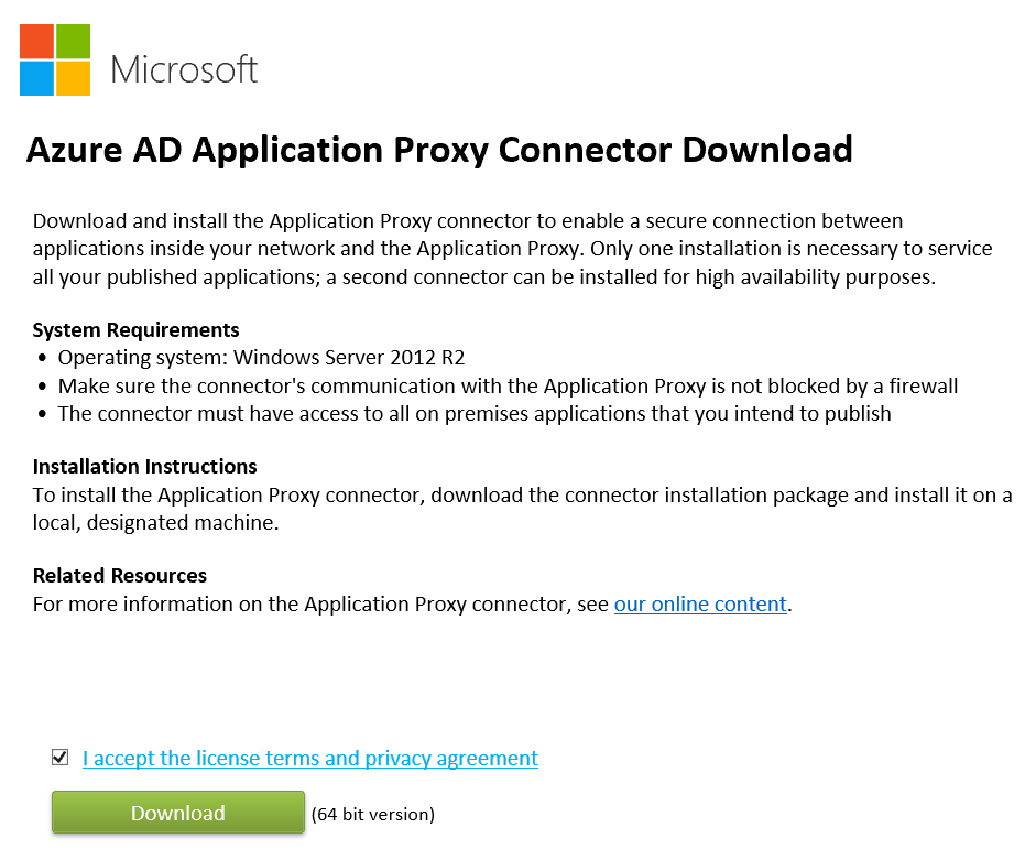 Azure AD Application Proxy Connector Download