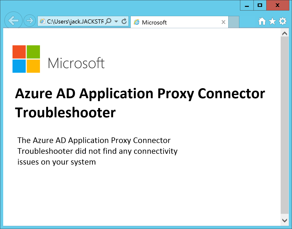 Azure AD Application Proxy Connector Troubleshooter