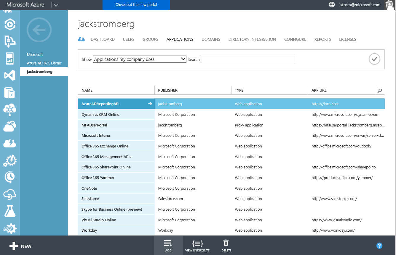 Azure Active Directory - Instance - Applications - Classic Portal