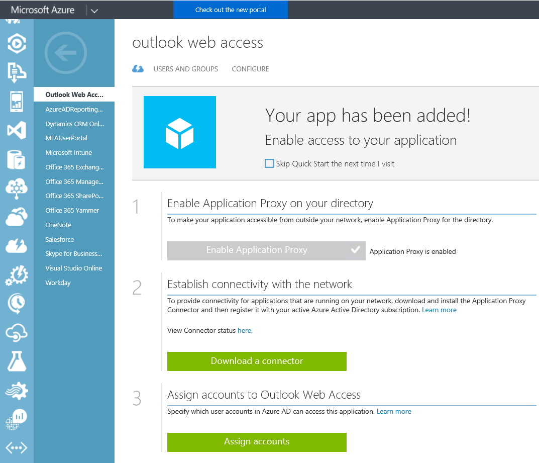Azure Active Directory - Instance - Applications - OWA - Configure - Classic Portal