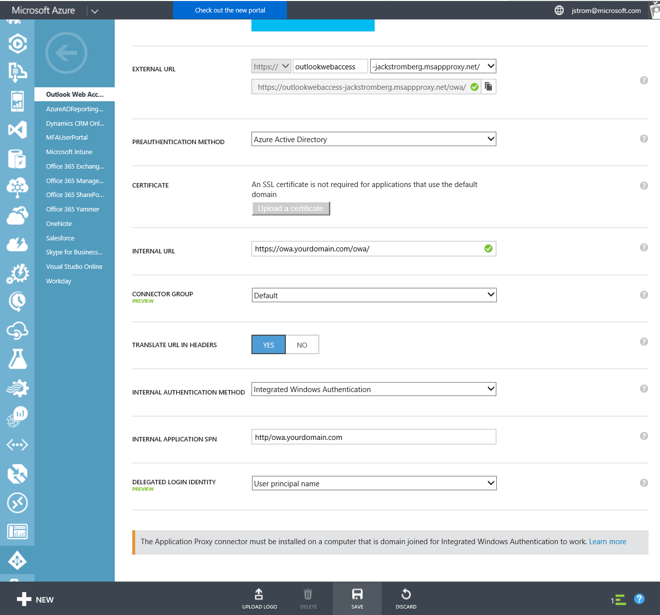 Azure Active Directory - Instance - Applications - OWA - Configure - Settings - Classic Portal