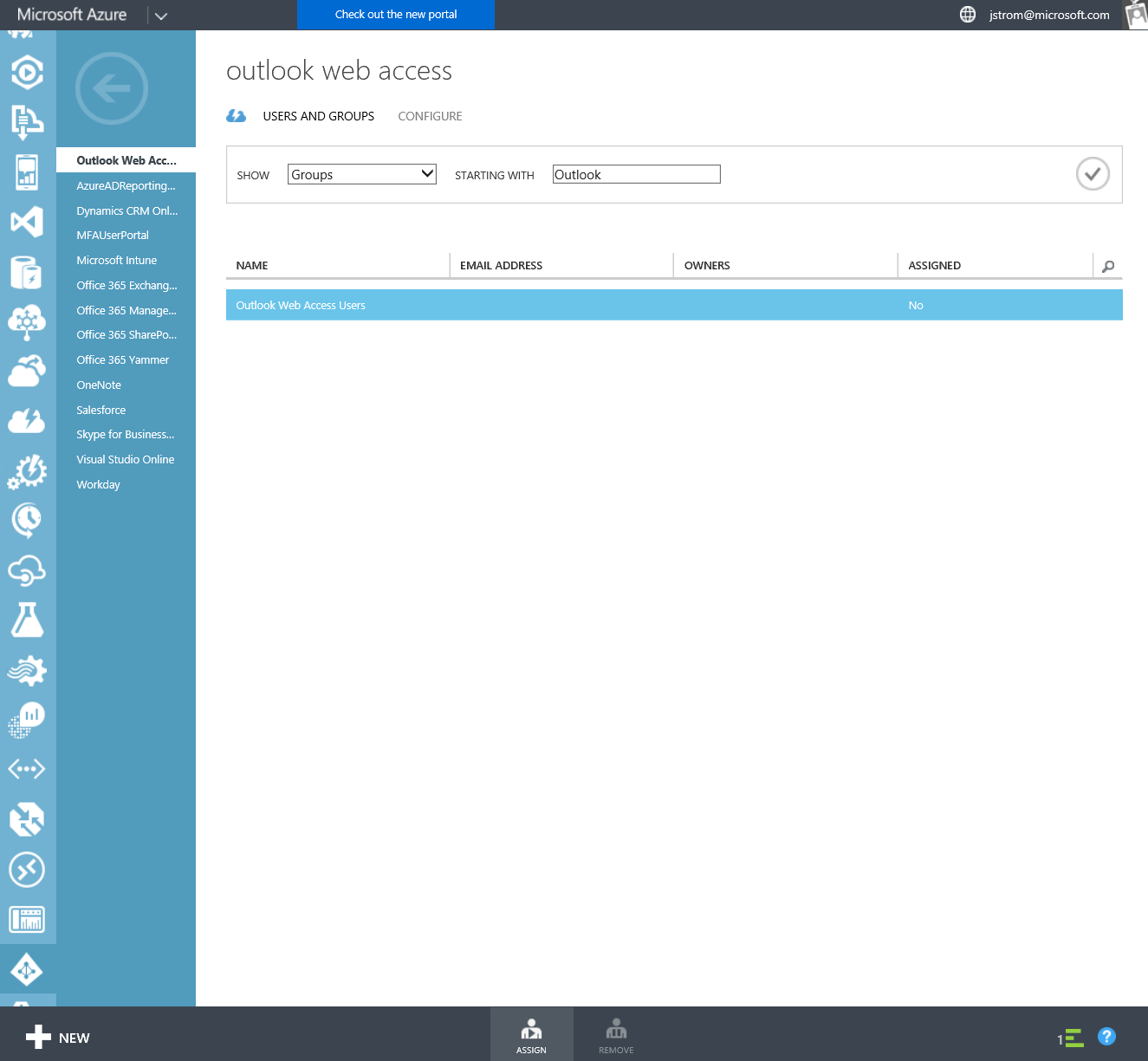 Azure Active Directory - Instance - Applications - OWA - Users and Groups - Assign