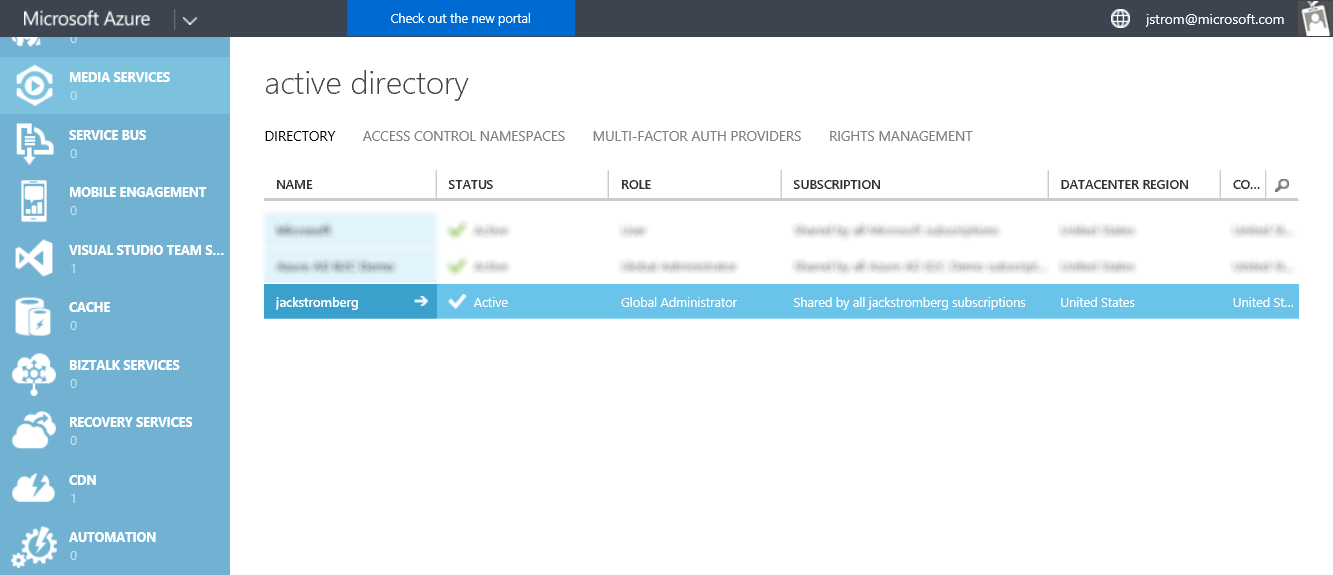 Azure Active Directory - Instance - Classic Portal