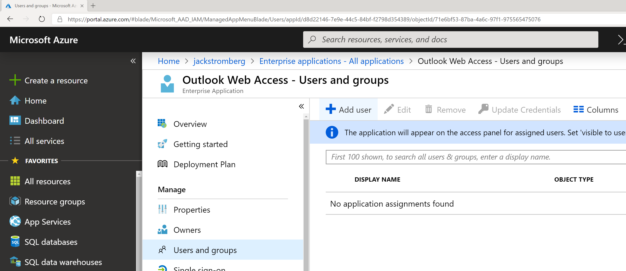 Enable SSO (Single Sign On) to On-Premises Exchange OWA (Outlook Web