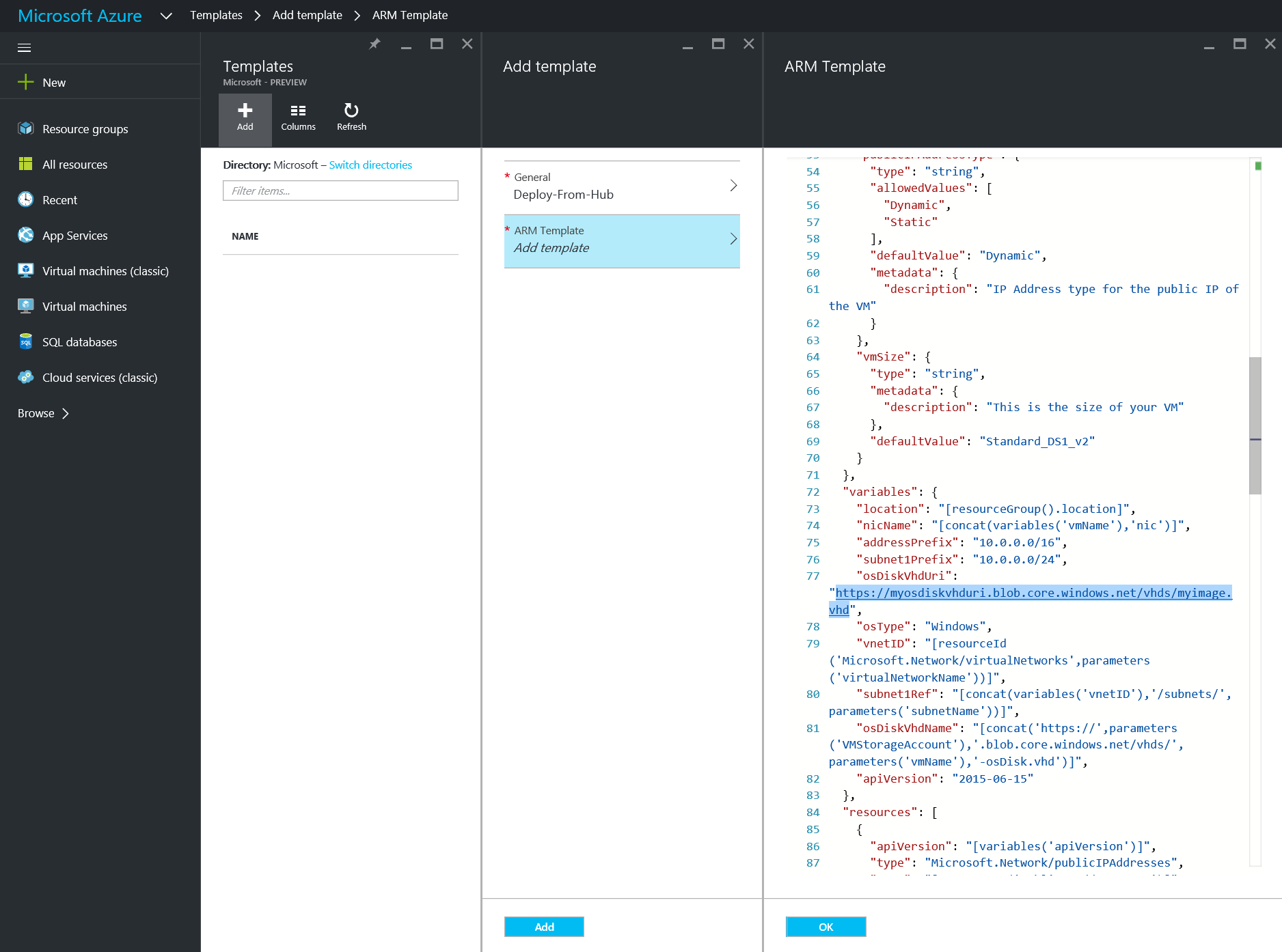 Azure - Browse - Templates - Add - General - change uri