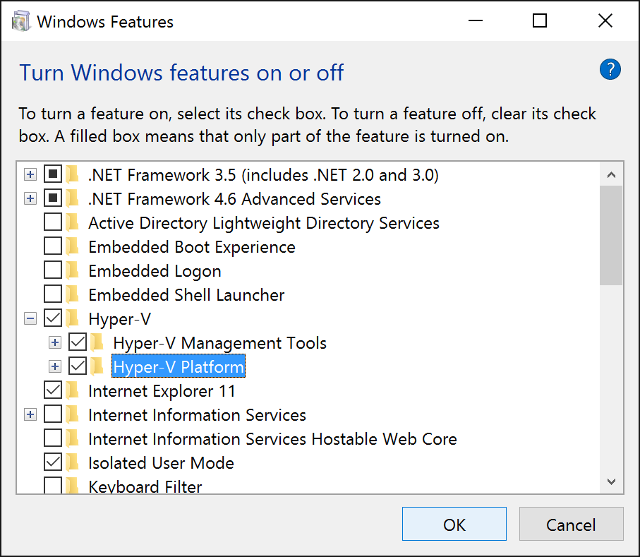 Control Panel - Programs and Features - Turn windows features on or off - Hyper-V