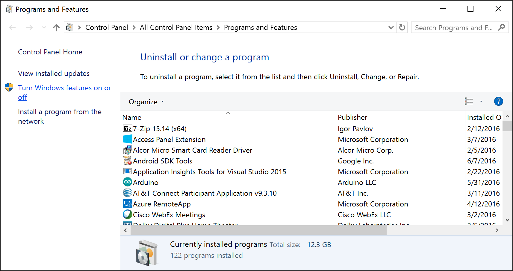 Control Panel - Programs and Features - Turn windows features on or off