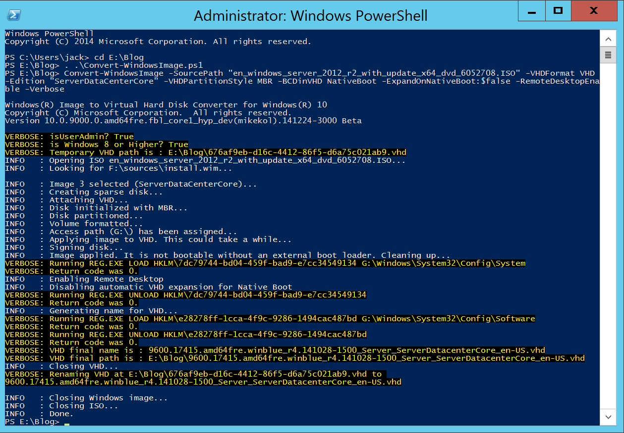 Convert-WindowsImage and Windows Server ISO - PowerShell - Execute Function -Completed