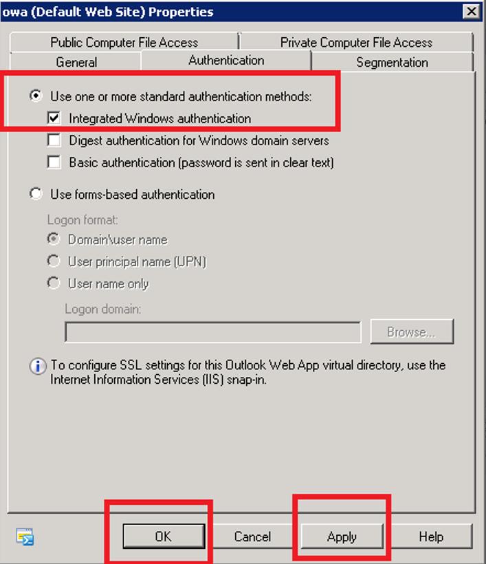 Exchange Management Console (2010) - Outlook Web App Properties - Authentication - Integrated Windows Authentication
