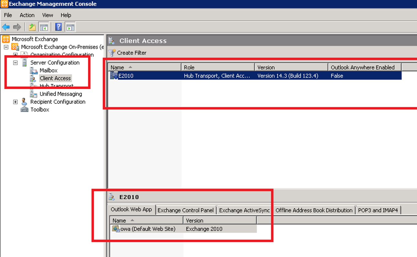 Exchange Management Console (2010) - Outlook Web App