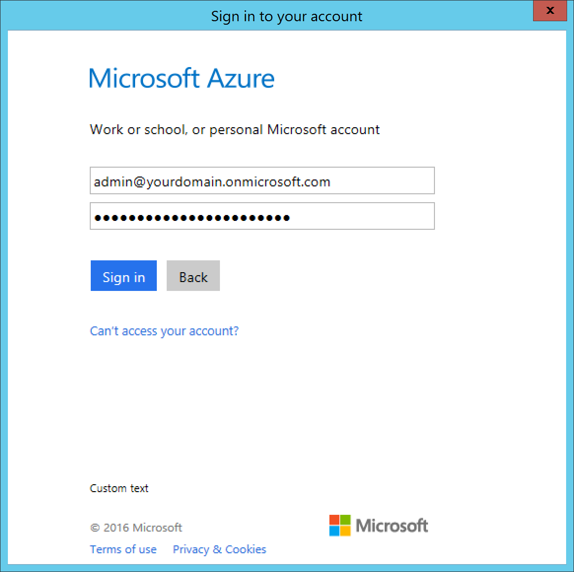 Microsoft Azure Active Directory Application Proxy Connector - Credential Prompt