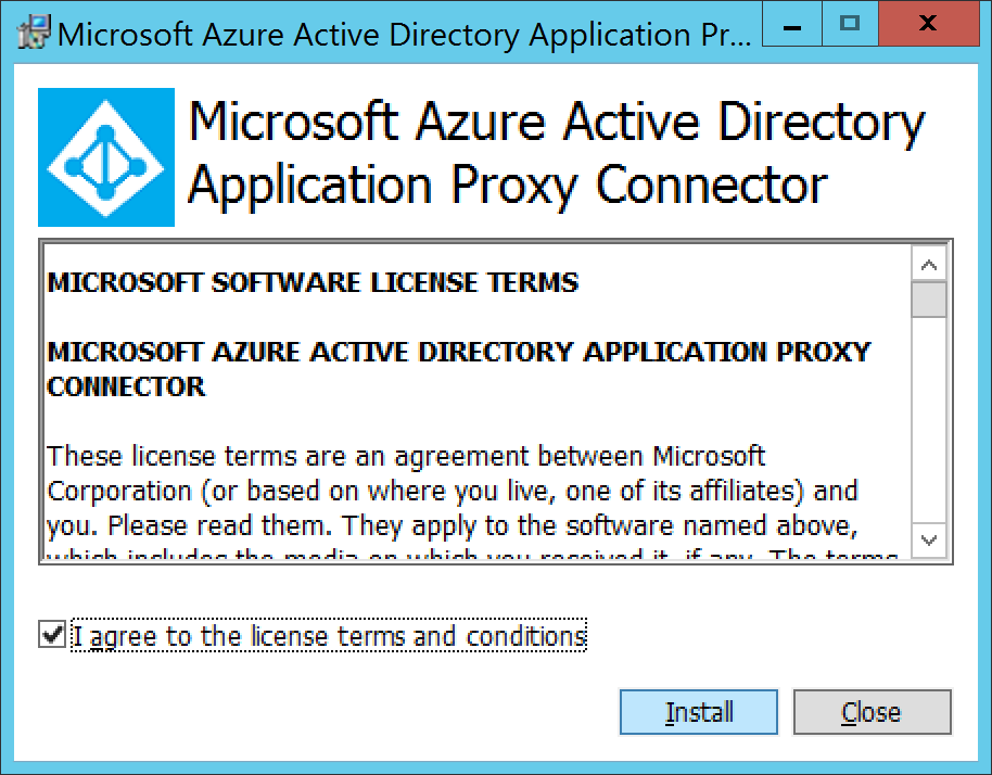 Microsoft Azure Active Directory Application Proxy Connector - I agree