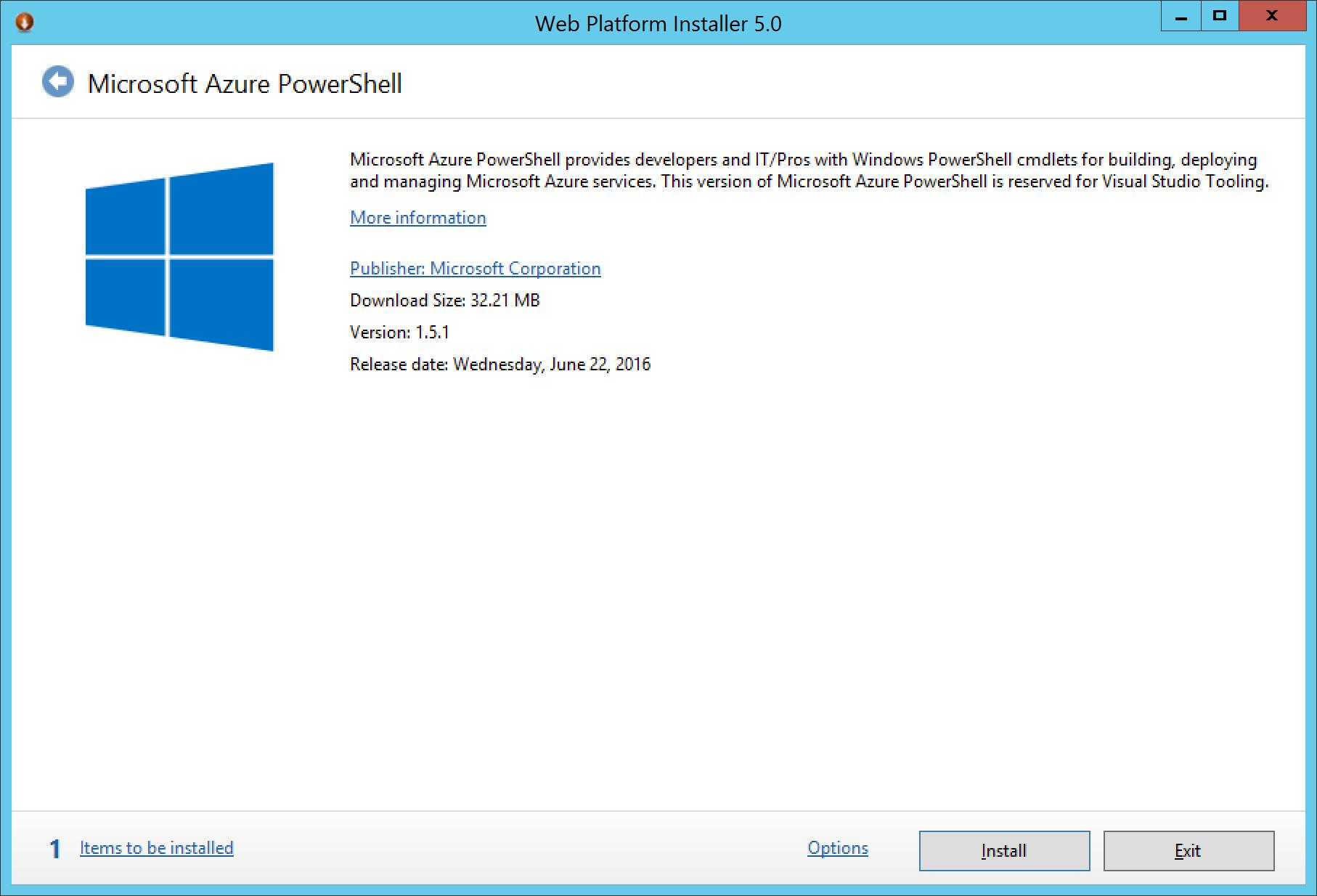 Web Platform Installer 5 - Microsoft Azure PowerShell