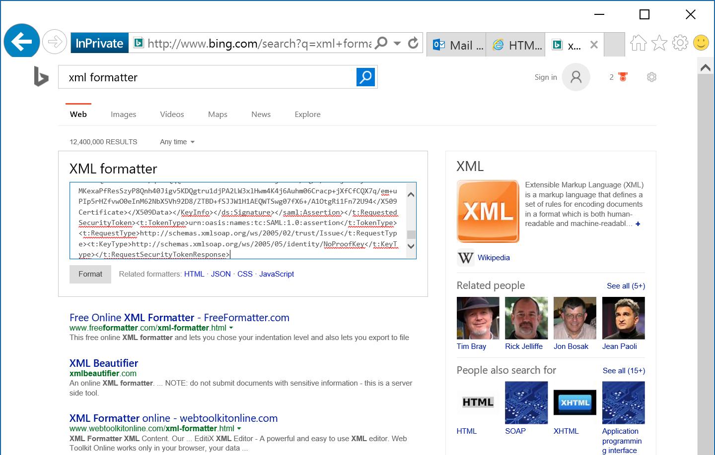 Bing - XML Formatter - SAML Token