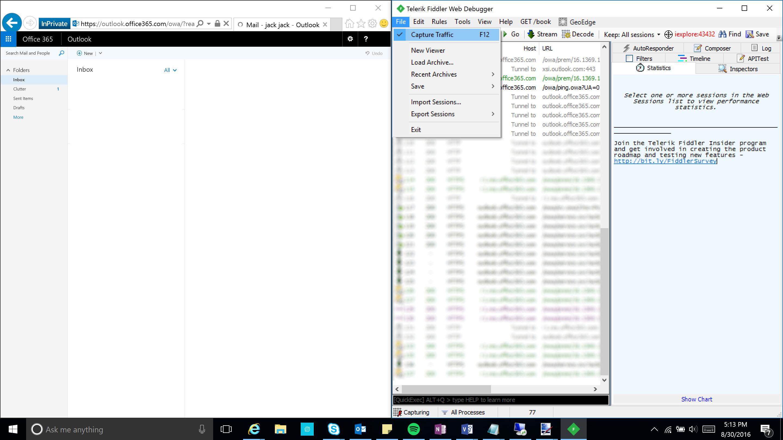 Fiddler - File - Capture Traffic - ADFS