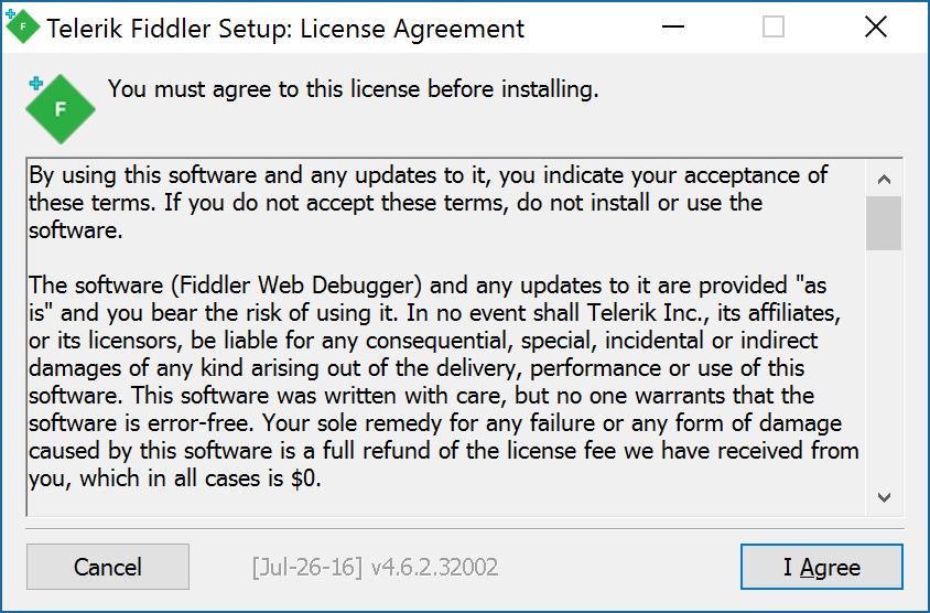Fiddler Install - Accept EULA