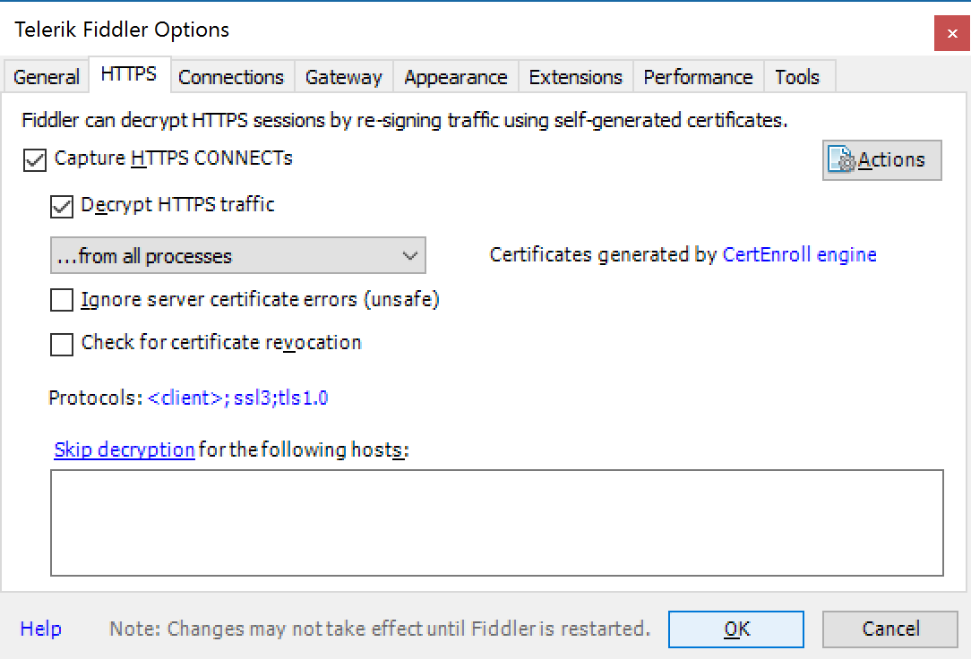 Fiddler - Tools - Telerik Fiddler Options - HTTPS - Decrypt HTTPS traffic