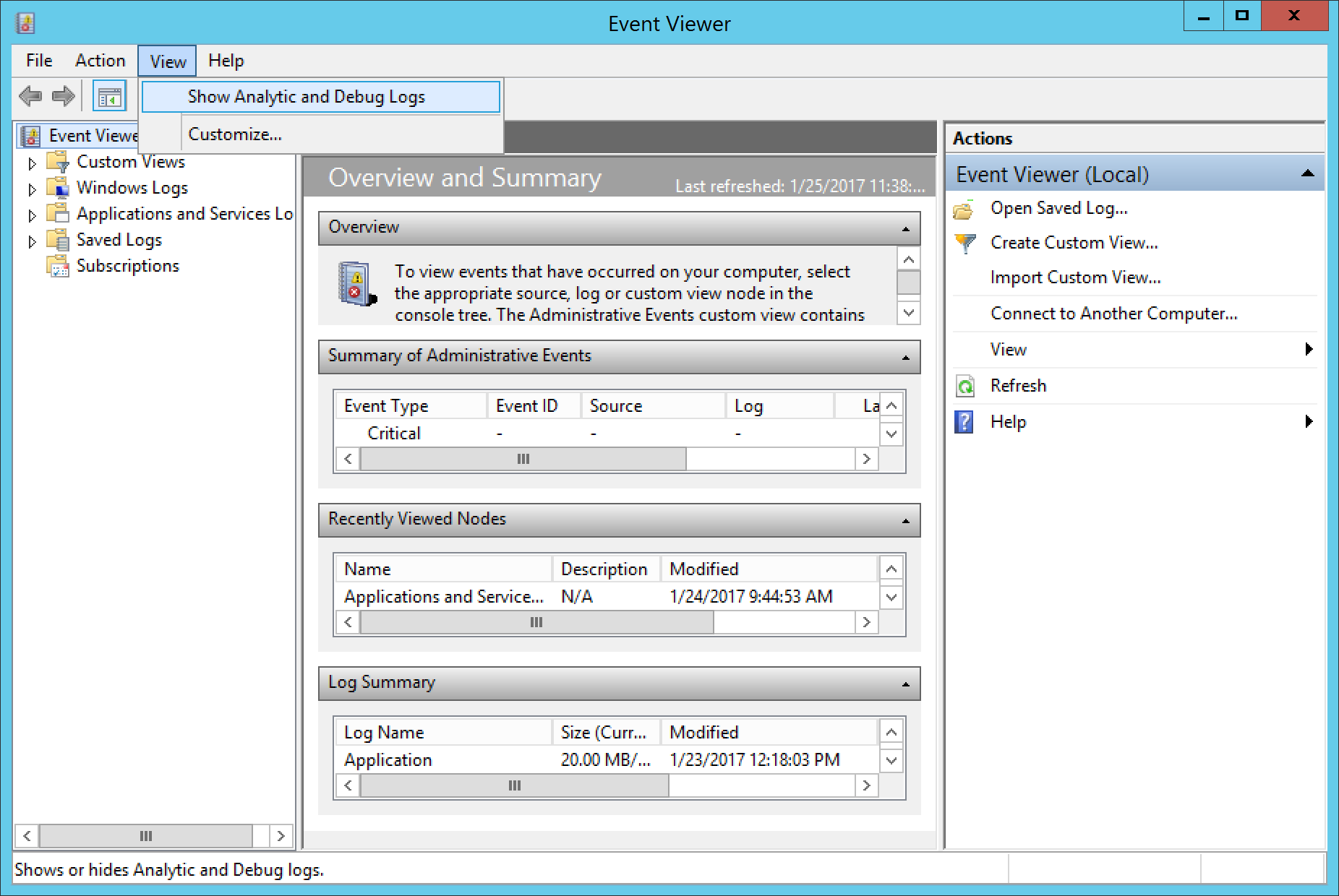 how to clear event viewer logs
