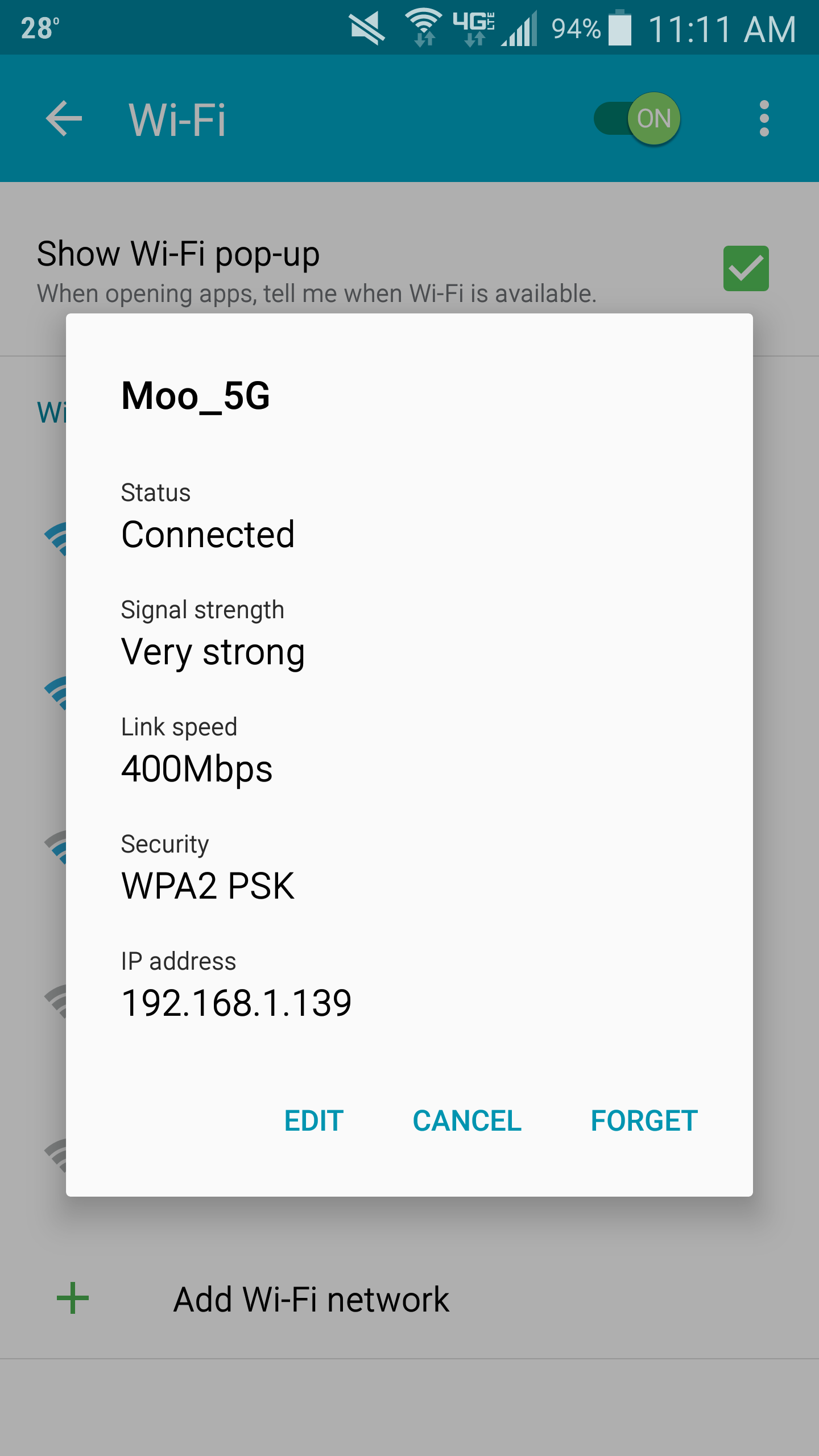 Settings – WiFi – Edit   Jack Stromberg