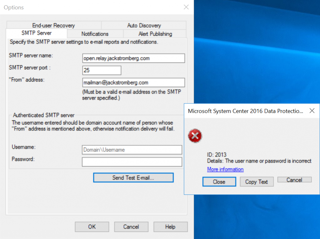 DPM 2016 – Anonymous / Open Relay for SMTP Notifications