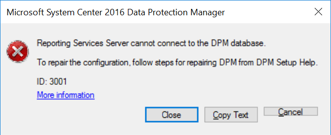 DPM 2016 – Reporting Services Server cannot connect to DPM
